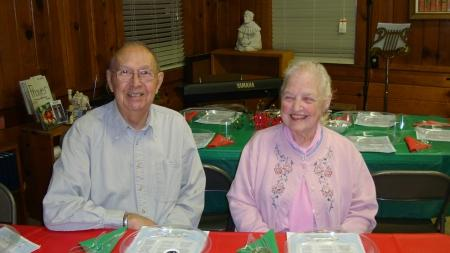 The Burdicks, Glenn and Enola, were earlybirds and helped decorate tables